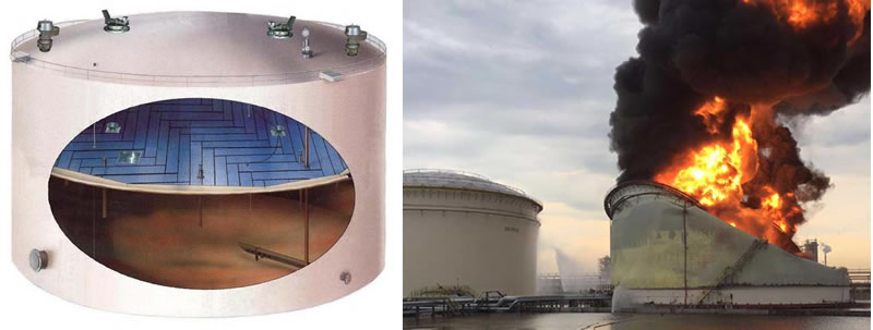 Pictures 10 eft a fixed roof tank with an internal floating roof right a lightning caused fire in a fixed roof tank with internal floating roof Singapore Jurong 2016